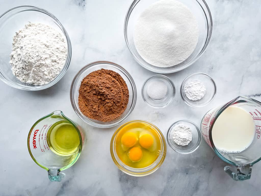 Gluten-free chocolate cake ingredients in bowls and measuring cups.